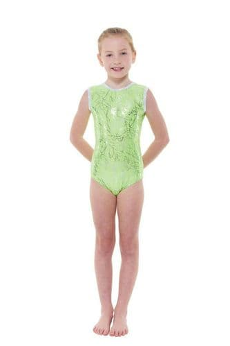 Tappers and Pointers Girls Leotard Lycra Foil Print Gymnastics Acro Gym Dance
